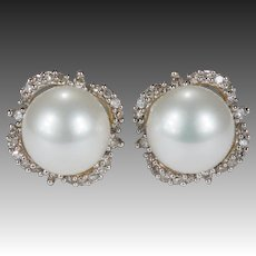 Pearl Diamond Earrings 14k Gold Akoya Cultured White Pearl Diamond Halo Studs