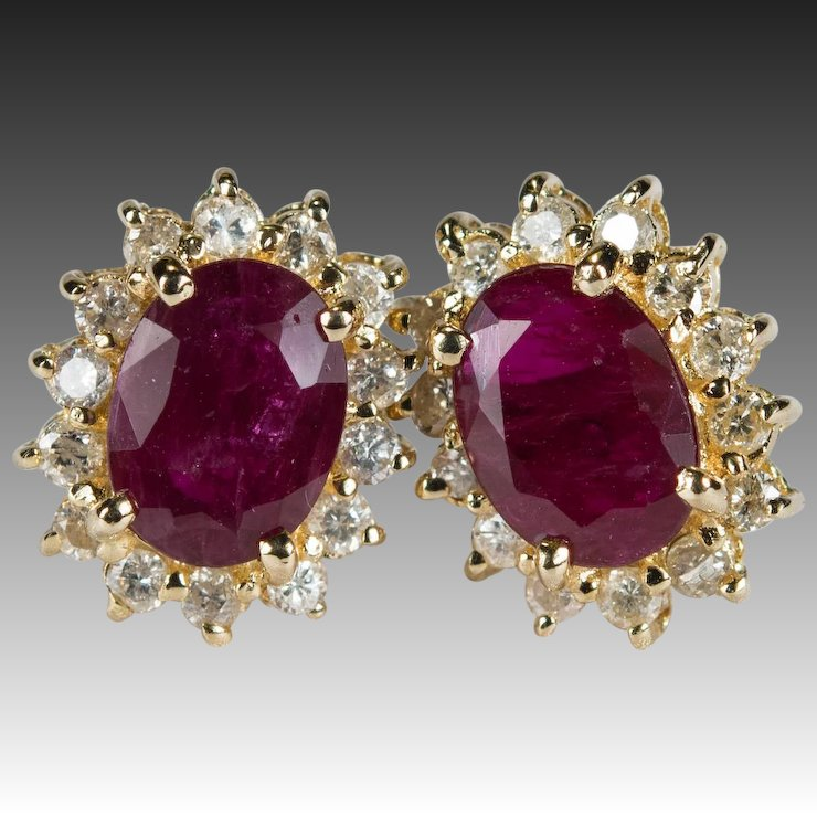 Ruby Diamond Stud Earrings 14k Gold Genuine Halo Studs