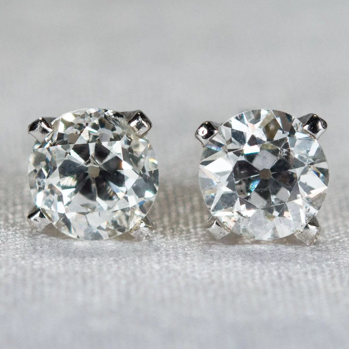 83bbcab79 Old European Cut Diamond Studs .94ctw 14k Gold Old Mine Cut Solitaire  Pierced Screw Back