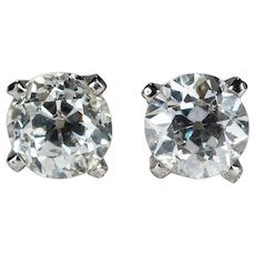 Old European Cut Diamond Studs .94ctw 14k Gold Old Mine Cut Solitaire Pierced Screw Back Stud Earrings