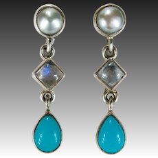 Turquoise Moonstone Pearl Dangle Earrings 925 Sterling Silver Cultured Pearl Nicky Butler
