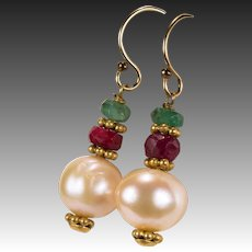 Emerald Ruby Pearl Dangle Earrings 14k 1/20 Gold Filled Mixed Gemstone Nugget Cultured Pearl Earrings