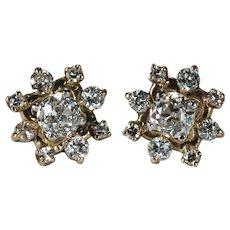 Old European Cut Diamond Studs 1.60ct 14k Gold Old Euro Cut Diamond Jackets Earrings