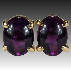 Natural Amethyst Stud Earrings 14k Gold Amethyst Cabochon Studs