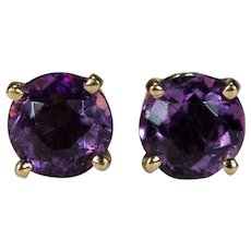 Natural Amethyst Stud Earrings 14k Gold Classic Round Solitaire Amethyst Studs