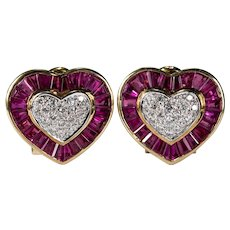 Ruby Diamond Heart Earrings 14k Gold Michael Anthony Pierced Or Non Pierced Omega Back