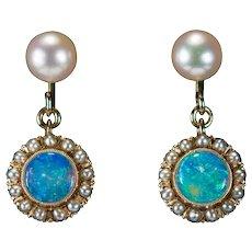Natural Opal Seed Pearl Earrings 14k Gold Pierced Dangle Cultured Pearl Opal Earrings