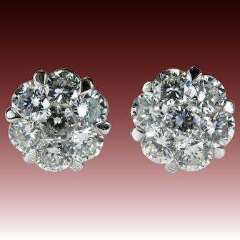 Natural Diamond Studs 1.40ctw 18k Gold Custom Honeycomb Diamond Stud Earrings