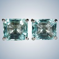 Natural Aquamarine Studs 7.0ctw 14k Gold Emerald Cut Aquamarine Stud Earrings