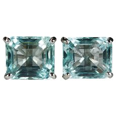 Natural Aquamarine Studs 7.0ctw 14k Gold Emerald Cut Aquamarine Stud Earrings