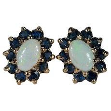 Natural Precious Opal Sapphire Stud Earrings 10k Gold Sapphire Halo Opal Studs