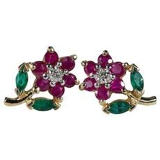 Ruby Emerald Diamond Flower Earrings 14k Gold Mixed Gemstone Flower Studs
