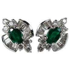 Emerald Diamond Studs 14k Gold Natural Diamond Emerald Earrings