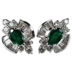 Emerald Diamond Studs 14k Gold Natural Diamond Emerald Earrings