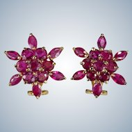 Genuine Ruby Snowflake Earrings 14k Gold 4.25ctw Ruby Earrings