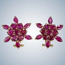 Genuine Ruby Snowflake Earrings 14k Gold 4.25ctw Ruby Earrings