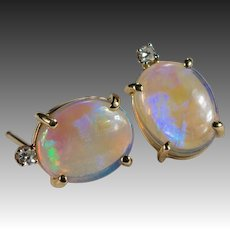 Natural Opal Diamond Stud Earrings 3.34ctw 14k Gold Jelly Opal Studs