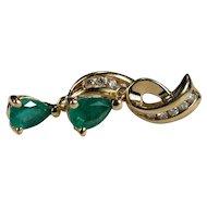 Natural Diamond Emerald Earrings 14k Plumb Gold Dangle Pear Cut Emerald Diamond Earrings