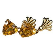 Trillion Cut Citrine Earrings 14k Gold Genuine Citrine Dangle Earrings