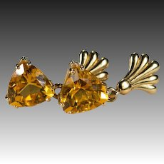 Trillion Cut Citrine Earrings 14k Gold Genuine Citrine Dangle Earrings