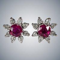 Ruby Diamond Stud Earrings 14k Gold Genuine Diamond Halo Ruby Studs