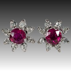Ruby Diamond Stud Earrings 14k Gold Genuine Diamond Halo Ruby Studs