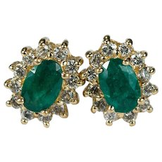 Classic Emerald Diamond Halo Stud Earrings 14k Gold Natural Diamond Emerald Studs