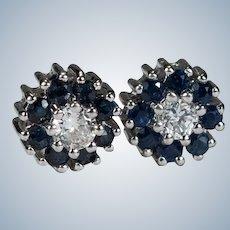 Diamond Solitaire Sapphire Halo Stud Earrings 14k Gold Genuine Sapphire Diamond Studs