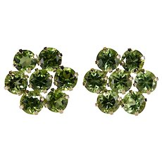 Genuine Peridot Flower Studs 10k Gold Peridot Stud Earrings