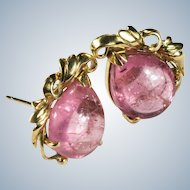 Pink Tourmaline Stud Earrings 14k Gold Pear Cut Natural Tourmaline Studs