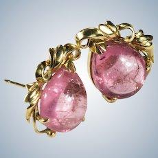 Pink Tourmaline Stud Earrings 14k Gold Pear Cut Natural Tourmaline Studs