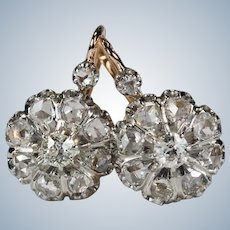 Antique Diamond Platinum 18k Rose Gold Old European Euro Mine Rose Cut French Dormeuse Earrings