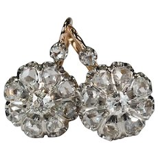 Antique Diamond Platinum 18k Rose Gold Old European Euro Mine Rose Cut French Dormeuse Earrings
