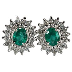 Vintage Emerald Diamond Platinum Studs 1ctw 910 Platinum Columbian Emerald Diamond Halo Stud Earrings