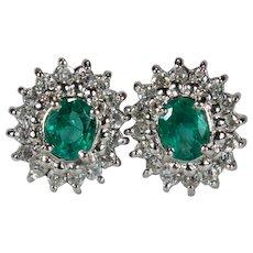 Vintage Emerald Diamond Platinum Studs 1ctw 910 Platinum Columbian Emerald Diamond Halo Stud Earrings