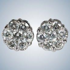 Natural Diamond Stud Earrings 1.40ctw 14k Gold Diamond Cluster Studs