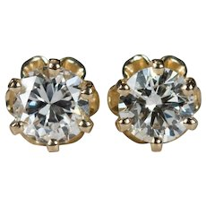 Buttercup Diamond Studs .62ctw 14k Gold Pierced Solitaire Diamond Earrings