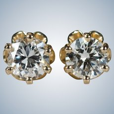 Buttercup Diamond Studs .62ctw 14k Gold Pierced Solitaire Diamond Earrings