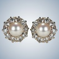 Antique Pearl Diamond Platinum Earrings 2ctw Old European Cut Old Mine Cut Halo Studs