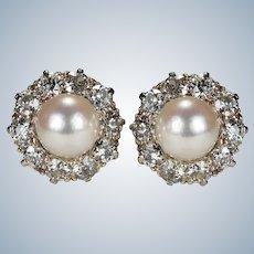 Antique Pearl Diamond Platinum Earrings 2ctw Old European Cut Old Mine Cut Halo Studs