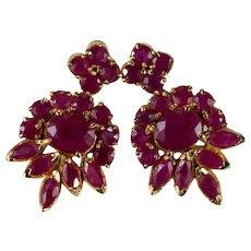 Ruby Dangle Earrings 22k Gold Vintage Pierced Screw Back Ruby Earrings
