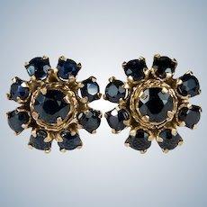 Genuine Sapphire Stud Earrings 14k Gold Blue Sapphire Flower Studs