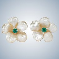 Antique Natural Pearl Emerald Stud Earrings 14k Gold River Pearl Flower Studs