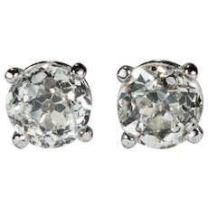 Old European Cut Solitaire Diamond Studs .84ctw 14k Gold Old Euro Cut Diamond Earrings