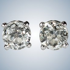 Old European Cut Solitaire Diamond Studs .84ctw 14k Gold Old Euro Cut Diamond Earrings