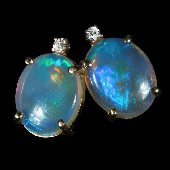 b1bf1f7b8 Natural Opal Diamond Stud Earrings 3.34ctw 14k Gold Jelly Opal Studs ...