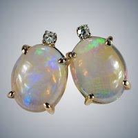 Opal Diamond Studs 14k Jelly Opal Pierced Stud Post Earrings