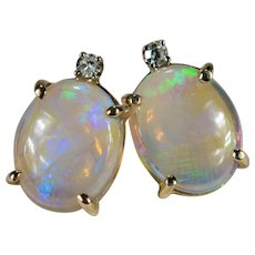 Natural Opal Diamond Studs 14k Jelly Opal Pierced Stud Post Earrings