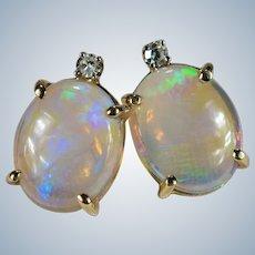 Natural Opal Diamond Stud Earrings 3.34ctw 14k Gold Jelly Opal Studs
