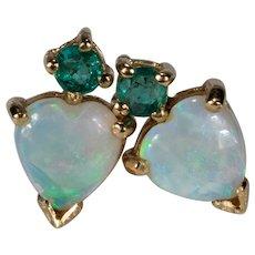 Natural Opal Heart Emerald Stud Earrings 14k Gold Heart Opal Studs